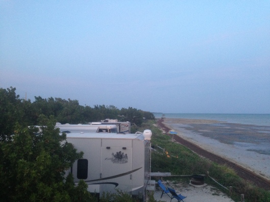 A view from the top of our RV of the campsites at Long Key State Park directly on the ocean.