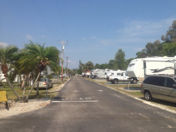 The main road at the KOA Pine Island.