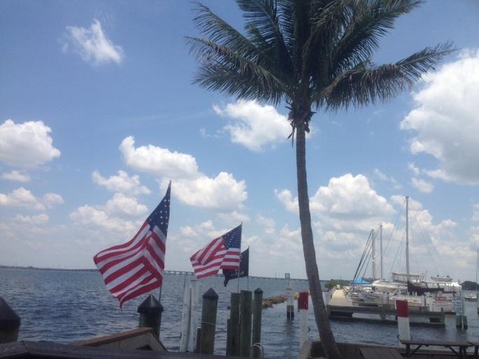The view from our dockside table at Harpoon Harry's in Punta Gorda was perfect.