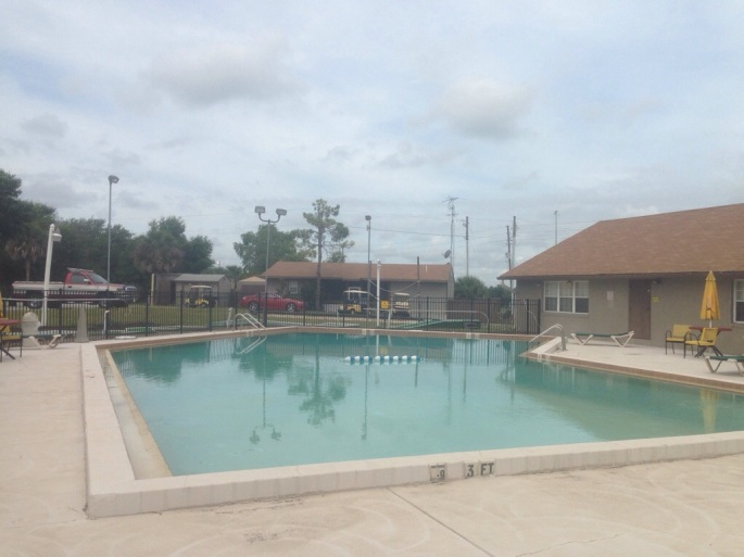 The pool is really quite large at the KOA Fort Summit in the Orlando area.