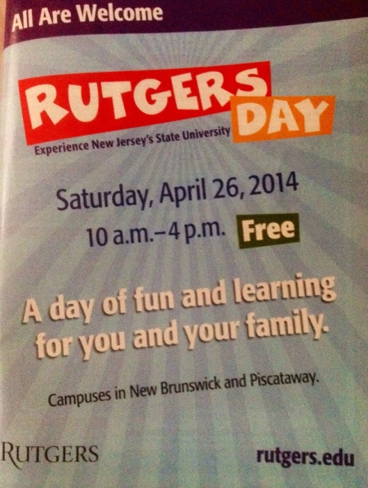 Rutgers Day in New Jersey takes place on one day and yet occupies a full page in the annual New Jersey publication.  My guess is that government dollars funded the ad and somewhere there is an intern who designed it.