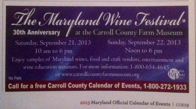This ad for the Maryland Wine Festival is another example of how events are working to draw tourists for niche interests.