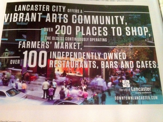 This is an incredible ad for Lancaster, Pennsylvania that actually appears in a county tourism guide, not the state guide, but it clearly shows off several trends including the arts and the local concept quite well.