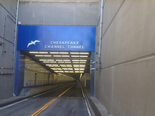 Entering the tunnel portion of the Chesapeake Bay Bridge Tunnel.
