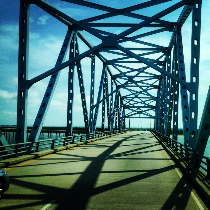 One the bridge portion of the Chesapeake Bay Bridge Tunnel with beautiful views.