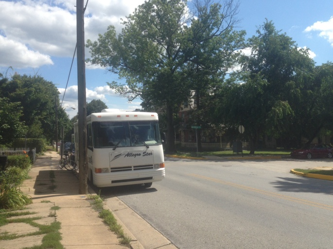 It was easy to park along the side of the road in Kennett Square, PA with our motor home.