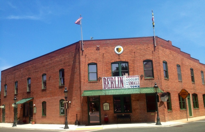 Banner at the town hall proclaiming Berlin the Coolest Small Town in America.