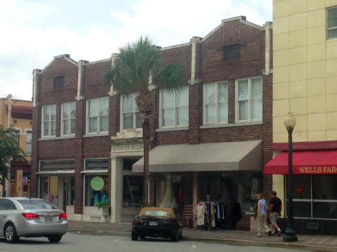 There's a variety of shops and buildings in downtown Brunswick, Georgia.