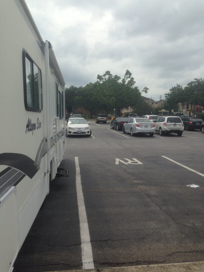 RV parking spaces at the Savannah Visitors Center on King Blvd.