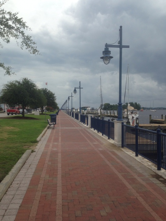 The waterfront on the river in downtown Washington, NC, is very nice, filled with boats and has a marina and beautiful walkway.