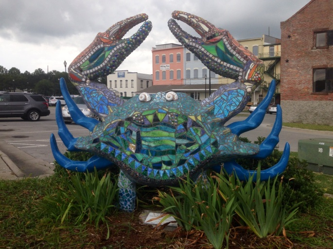 There is whimsy in the air along the waterfront in downtown Washington NC and this artistic crab is part of it.  Just a fun sight to happen upon.