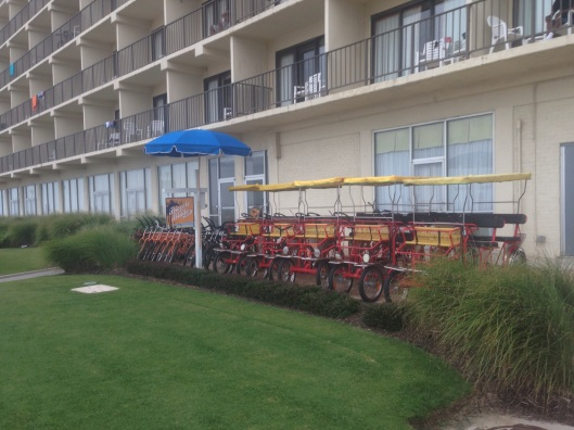 There are plenty of places to rent a bicycle along the seafront at Virginia Beach.  And I'd highly suggest doing it if you don't have your own.