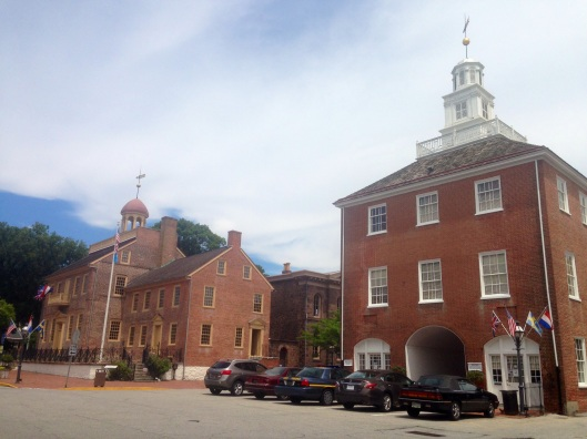 On the square in the town of New Castle, Delaware you encounter the most incredible colonial architecture.