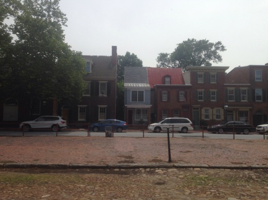 Historic homes on the Green in New Castle, Delaware.