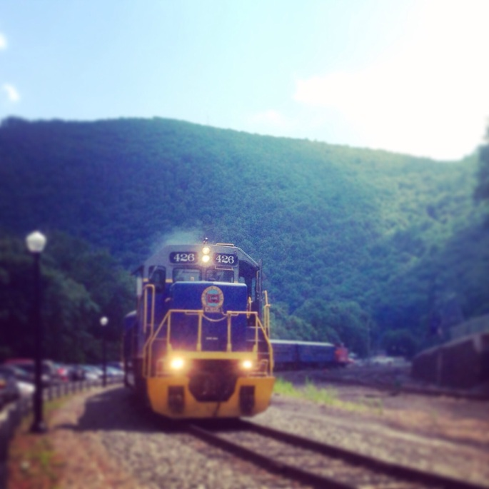 The passenger train of the Lehigh Gorge Railway departs Jim Thorpe Station.