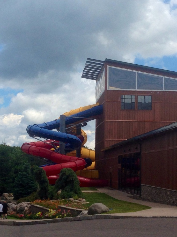 The slides at the water park go outside at the indoor water park at Split Rock in the Poconos.