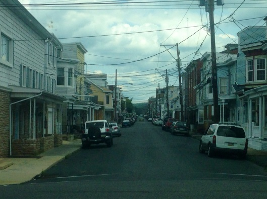 One of the residential streets in Mahanoy City, Pennsylvania.