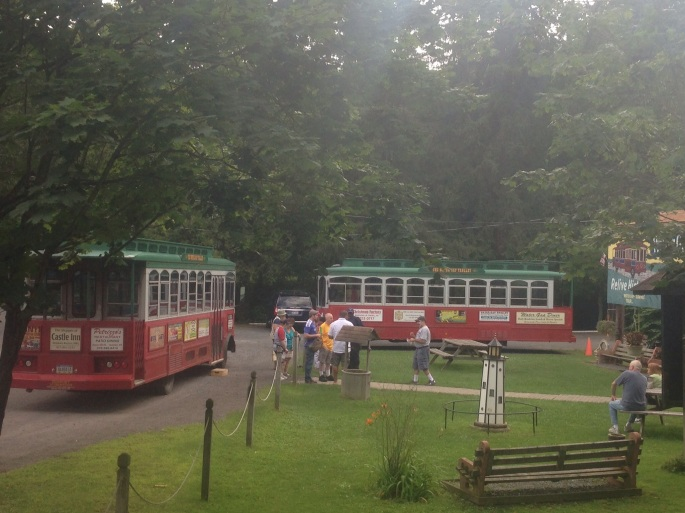 The Delaware Water Gap trolley terminus where it is very comfortable to wait for the next tour.
