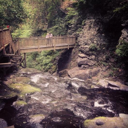 One of the pedestrian bridges at Bushkill Falls, Poconos, Pennsylvania.
