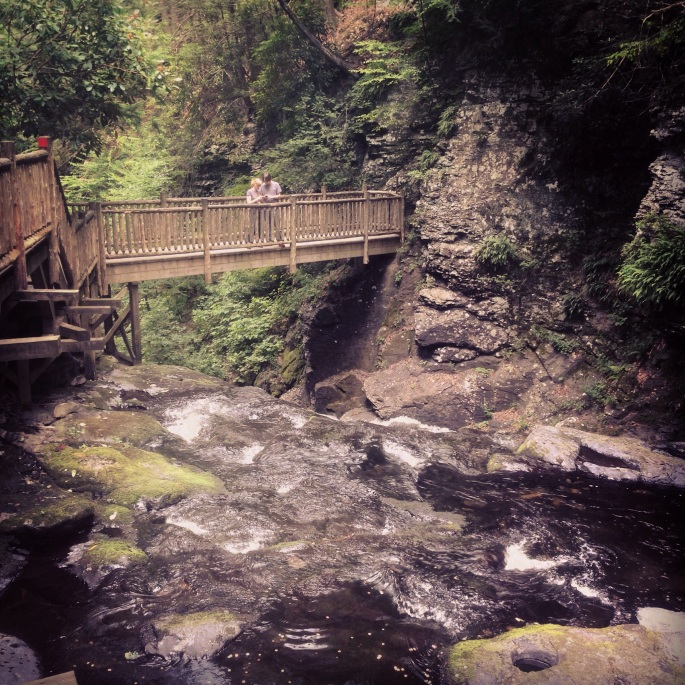 One of the pedestrian bridges at Bushkill Falls, Poconos, Pennsylvania.