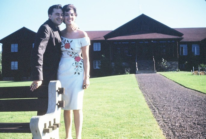 My mom and dad at Split Rock Lake Harmony in this vintage 1959 shot showing what is the front of the lodge near the waterfront.