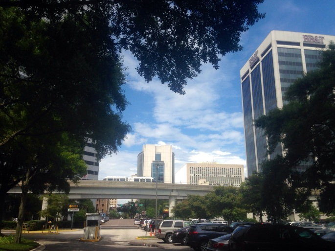 Downtown Jacksonville is fairly well developed for a Florida city with transit options that include a single line monorail style rail car similar to what many airports use to shuttle people to and from terminals.