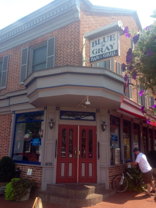 The Blue and Gray Grill on the square in Gettysburg is a great place for a drink and lunch.